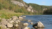bashkortostan : Static view to slow mountain river and pine forest