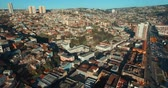 Drone Aerial Image. Valparaiso, Chile. Argentina Avenue, Cerro Baron (Baron Hill) and Cerro Placeres ( Pleasures Hill)