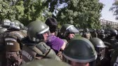 mais : Santiago, Chile - April 19, 2018: Protester arrested in the University of Santiago during a demonstration demanding an end to the Profit in the Education. Vídeos