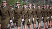 chapéus : Santiago, Chile - September 15, 2011: Women Police Cadets marching in a rehearsal of the Great Military Parade