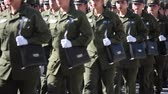 rejeitar : Santiago, Chile - September 15, 2011: Women Police Cadets marching in a rehearsal of the Great Military Parade