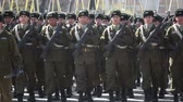 Santiago, Chile - September 15, 2011: Mountain police marching in a rehearsal of the Great Military Parade