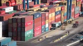 stack : VALPARAISO, CHILE - January 03, 2011: Cargo containers and RTG container cranes cranes in the port of Valparaiso. Chile Stock Footage