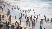 Vina del Mar, CHILE - January 30, 2011: Bathers on the Beach in Vina del Mar, During the summer season Стоковые видеозаписи