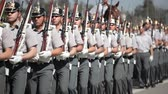 askerler : Santiago, Chile - September 15, 2011: Military Cadets marching in a rehearsal of the Great Military Parade