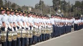 Santiago, Chile - September 15, 2011: Air Force Cadets marching in a rehearsal of the Great Military Parade Стоковые видеозаписи