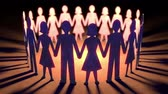 Paper Dolls Loop - Seamless loop of paper dolls holding hands in a circle.