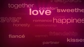 compreensão : Love and Relationship Words Loop - Seamless animation loop of various buzzwords pertaining to love and relationships.