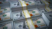 Stacks of Cash Loop - Seamlessly looping animation of stacks of 100 dollar bills slowly scrolling by.