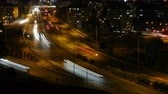 urban : Urban Freeway traffic at rush hour. Light Trails time lapse 4K UHD