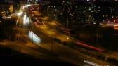 car : urban Freeway vehicle traffic at rush hour night long exposure