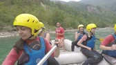 RIVER TARA, MONTENEGRO - August 20, 2017: group of people during rafting on river Tara Stock Footage