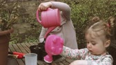 cachos : Girls holding plastic watering can and watering plant in backyards