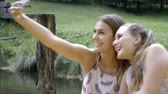 só as mulheres jovens : Friends taking selfie in countryside