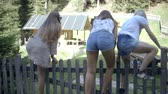 пеший туризм : Group of friends climbing over a fence Стоковые видеозаписи