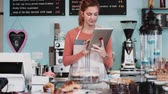assistente : Female in cake shop checking inventory on digital tablet Vídeos