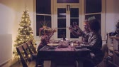 saúde : Mixed race family toasting at Christmas