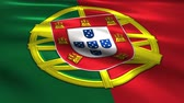 Charming 3D animation  flag of Portugal on silk and shadow