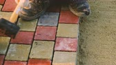 flagstone : Man Is Doing Sidewalk Tiles