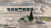 Aerial 4k footages of christmas tree. On The Square Of The City Wideo