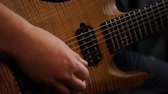 muzycy : Rock musician plays solo guitar. Close up of rock guitar solo. Closeup of rock guitar player hands. Rock guitarist. Young man playing electric guitar Wideo