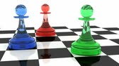 chess board : Three classical shaped pawns made of different colored glass (RGB color scheme) on chess board. 3d render animation with full rotation loop.   Stock Footage