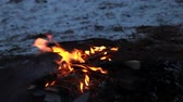Burning wood, outdoor winter campfire macro video