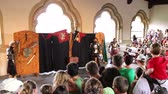 knight : VIANDEN, THE LUXEMBOURG - AUGUST 03 2014: Vianden Castle, Medieval Festival, Knights Tournament.