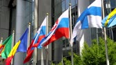 united states : European countries flags waving In the wind In front of European Parliament (Brussels, Belgium). Stock Footage