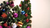 cartão de natal : Greeting Season concept.Dolly of ornaments on a Christmas tree with decorative light