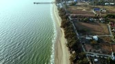 Top view of the beach of Rayong Thailand. Aerial view from flying drone