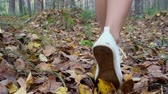 сентябрь : female legs in white sneakers walk through the autumn forest.