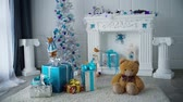 ladin : Christmas fir, holiday gifts, white fir in the room Stok Video