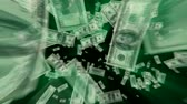 номер : $100 Dollar Bills flying away, green light rays tinted with exact green from the ink. HD 1080. v.1-