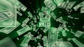номер : $100 Dollar Bills flying away, green light rays tinted with exact green from the ink.-