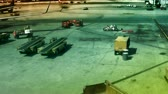 кокпит : Busy workers and planes at the airport gates. Shot on HD 1080.- Стоковые видеозаписи