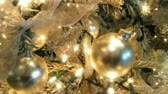 dekor : Sparkling gold ornaments on Christmas tree. HD 1080  Seamless Loop.-