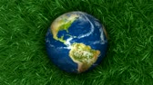 digitalmente : 3D animation of Earth on green grass that is flowing in the breeze. Seamless looping animation.