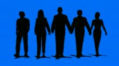 Men and women business team walking towards the camera on blue background. HD 1080 Seamless Loop. Animated 3D people. v.1-