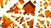 技術 : 3D orange cubes spinning with light rays. HD 1080 Seamless Loop.-