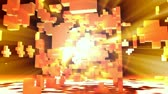 soustružení : 3D abstract animation of an exploded cube with orange light rays shinning out. Seamless looping video animation.-