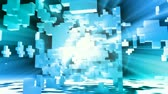soustružení : 3D abstract animation of an exploded cube with blue light rays shinning out. Seamless looping video animation.-