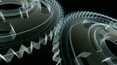 рамка : Wireframe X-ray blueprint look - 3D animation of gears turning. Seamless looping video.- Стоковые видеозаписи