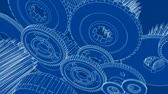 шестерня : Blueprint sketch drawn look - 3D animation of gears turning. Seamless looping video.-