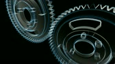 planları : Wireframe X-ray look - 3D animation of gears turning. Seamless looping video.-