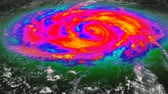 облака : Time-lapse custom composited animation of a massive hurricane. Multiple layers of depth to create a very realistic look and feel. Infrared (colorization) done in post. Fractional parts of imagery sourced from public domain images from http:www.nasa.gov. Стоковые видеозаписи