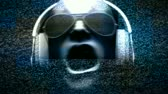 boates : 3D man with headphones AND sunglasses spinning with noise, glow and light streaks. HD 1080 Seamless Loop.-