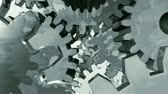 složitost : Abstract 3D animation loop of metal gears turning, camera flies through the center. Seamless looping video.-