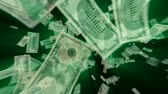 номер : $100, $50, $20, $10, $5 and $1 Dollar Bills flying away, green light rays tinted with exact green from the ink. HD 1080.-