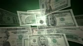 финансы : U.S. Dollar Bills flying by animation. HD 1080.-